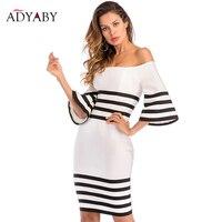 Knee Length Dress Women 2018 Summer Off Shoulder Bodycon Dress Bandage Black And White Striped Celebrity Party Dresses For Women
