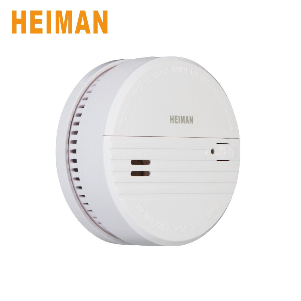 HEIMAN Mains 9V Battery Photoelectric Fire Alarm, Test Button And Low Battery Warning House Smoke Alarm Detector-623PS