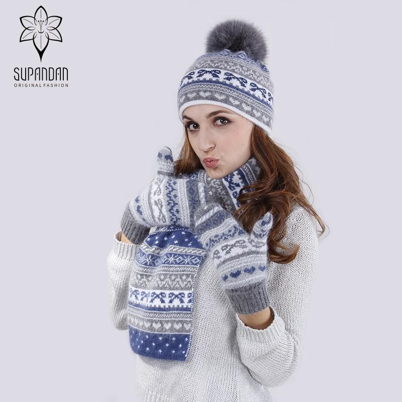 SUPANDAN 2018 Winter Beanies Ladies Real Fox Fur for Women Knitted Ear Cuff Hat Scarf Gloves Set Women Caps 8492TC1
