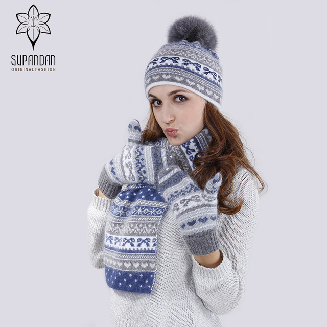 947150707841c7 SUPANDAN 2018 Winter Mützen Damen Echt Fuchs Pelz für Frauen Gestrickte Ohr  Manschette Hut Schal Handschuhe