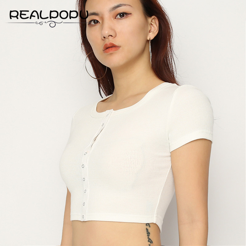 Realpopu Striped T-shirt Button Cropped O Neck Casual Fashion Solid White Bodycon Slim Waist Eurpoen Top Tees Female T Shirt