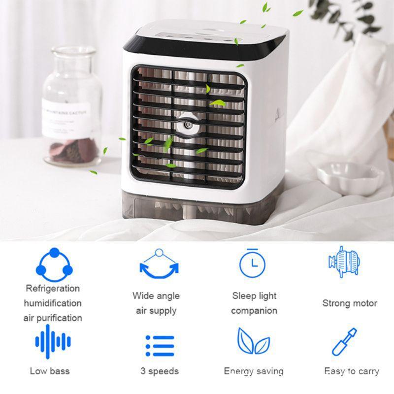 Ventiladores portátiles humidificador de aire frío purificador de aire refrigeración Aire Acondicionado ventilador pequeño escritorio ventilador mesa de sobremesa humedad Sp - 5