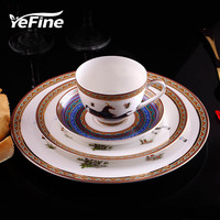 European Style Famous Brand Dinnerware Set Bone China Flatware Dessert Dish Porcelain With Tea Cups Set