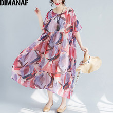 DIMANAF Women Dress Summer Large Size Chiffon Beach Holiday Vestidos Plus Pink Female Casual Sundress Clothing 2018 With Lining(China)