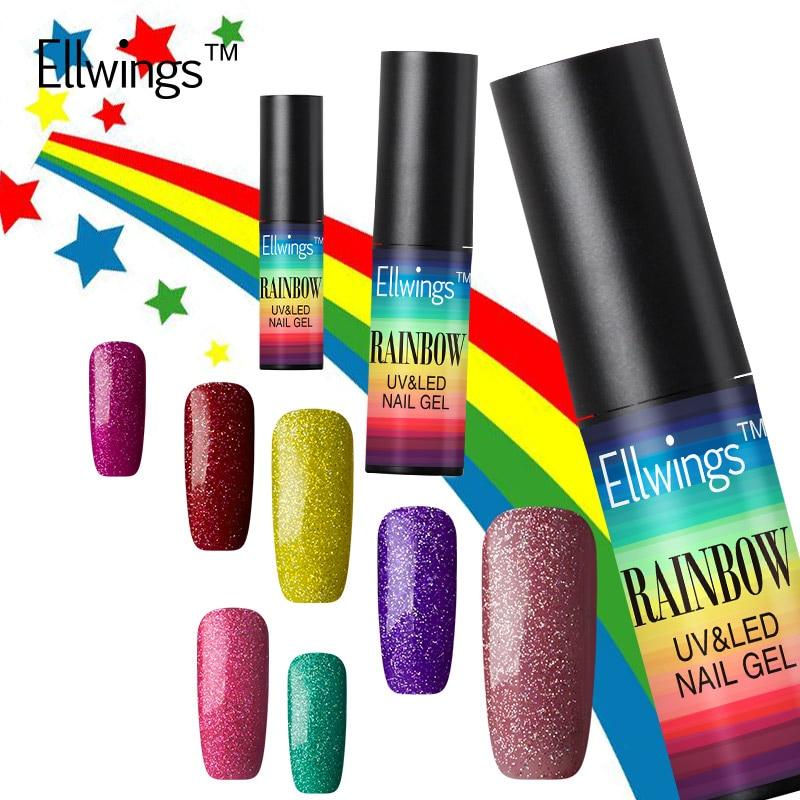 Ellwings Professional Shimmer Uv Gel Nail Polish Neon Rainbow Nails ...