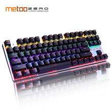 Оригинальная игровая механическая клавиатура Metoo с 87/104 клавишами, светодиодный Проводная клавиатура с подсветкой для геймера на английском/русском языках