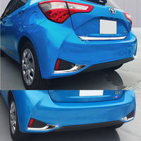 JY 2pcs SUS304 Stainless Steel Rear Fog Lamp Trims Car Styling Cover For Toyota Vitz Yaris