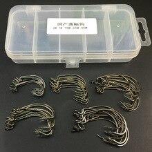 50pcs/box Worm Hook Jig Big Fishing Hooks Black Fishhook Size 2# 1# 1/0# 2/0# 3/0#