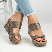 WHOSONG 2019 Summer New style Arrived Sexy Platform Wedges Sandals Women Fashion High Heels Female Slippers M186