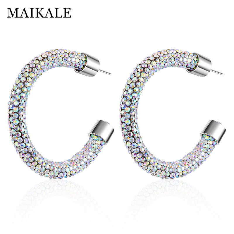 78ad63239 MAIKALE New Fashion Austrian Crystal Hoop Earrings for Women Big Round Shiny  Large Circle Rhinestone Earings