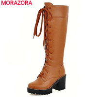MORAZORA Front Lace Up Punk Fashion Women Shoes Platform Knee High Boots Western Ribbons Cross Strap