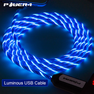 Image 5 - Power4 EL Cold Light USB C Phone Charging Cord For Samsung Fast Charging Micro USB type C Cable Glowing For Lightning iPhone