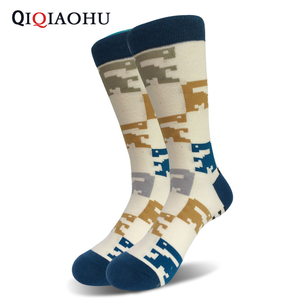 Qiqiaohu male cotton dress socks long tube wedding gift peacock pattern art socks unisex knee high crew cape socks couple meias