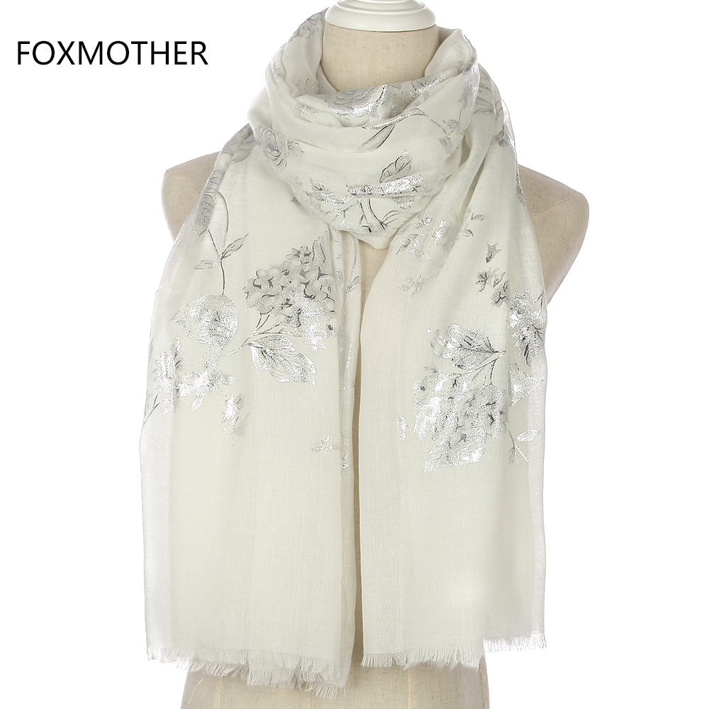FOXMOTHER New Fashion Shiny Black Pink Floral Pattern Glitter Foil Silver Long Hijab Fringe Scarfs For Womens Ladies