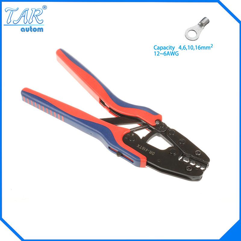4,6,10,16mm2 Super Strength-Saving Crimping Pliers Ratchet Crimping Tool Insulated and Non-insulated cable end-sleeves DR-416GF