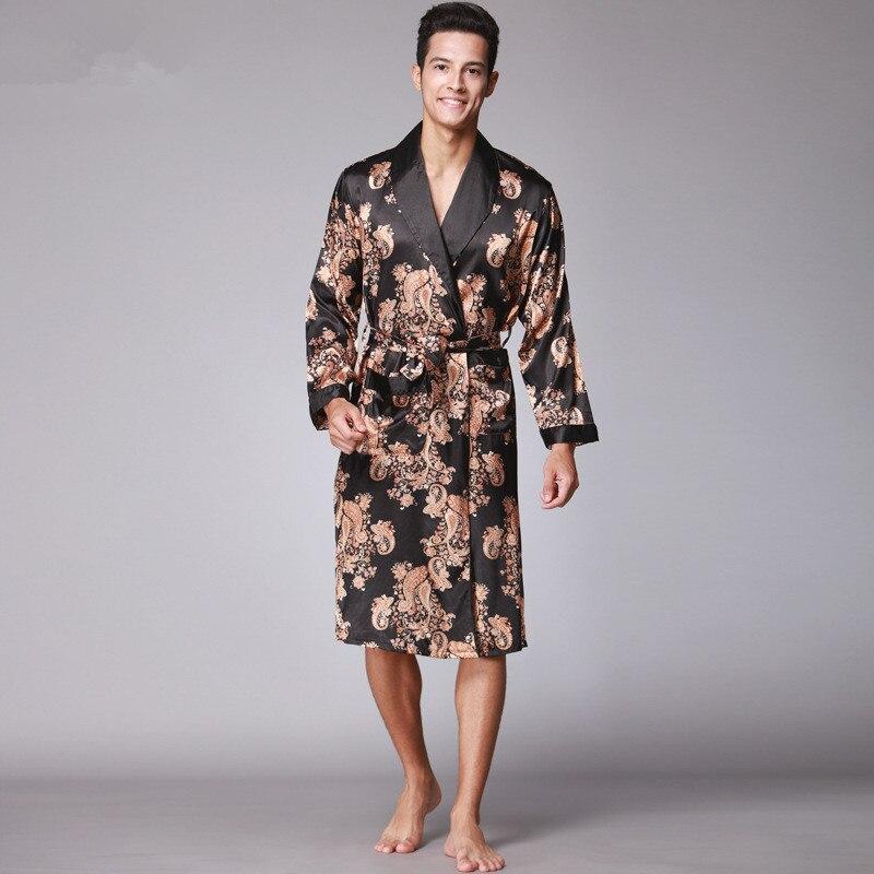 Men/'s Satin Silk Summer Pajamas Kimono Bathrobe Robe Dressing Gown Loungewear