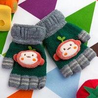 REALBY Çocuk Yarım Parmak Eldiven 3 ~ 6 Yıl Örme Elastik Eldivenler Kid Boy Kız Örgü Karikatür maymun Desen Kış eldiven C6103