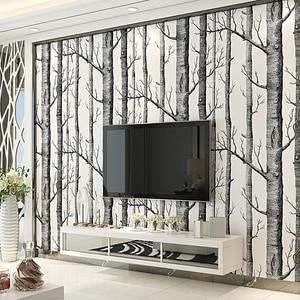 Image 3 - שחור לבן ליבנה עץ טפט חדרי שינה מודרניים עיצוב סלון קיר נייר רול כפרי יער יער טפטים פנינים