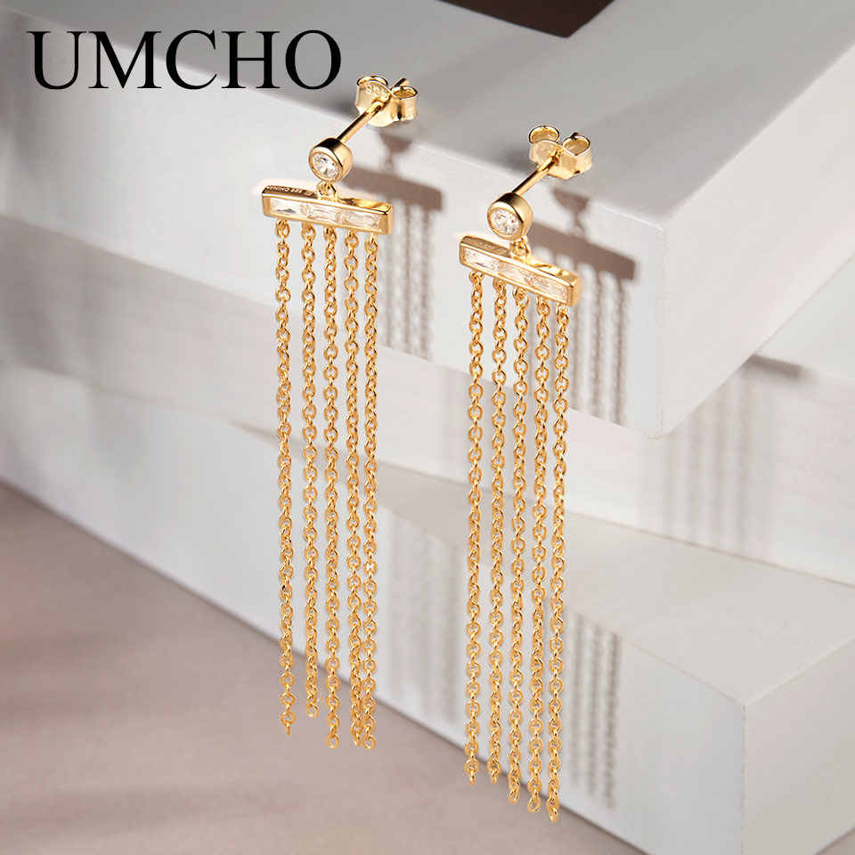 UMCHO Real 925 Sterling Silver Jewelry Dynamic Drop Earrings Fashion Style Special Birthday Gifts For Women Fine Jewelry