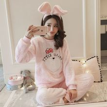 Autumn and winter new thickening pajamas ladies cartoon bag bear coral velvet Pyjama flannel Home clothes warm Pijamas fit women