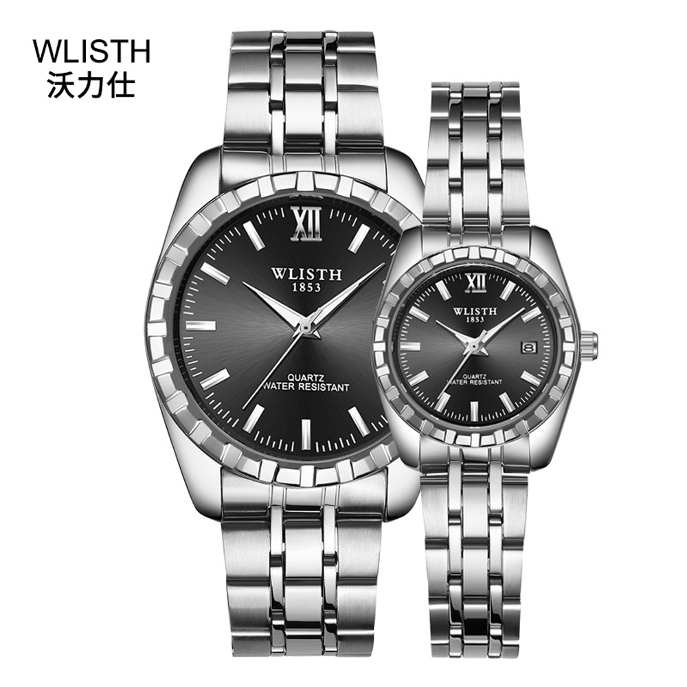 Couple Watch Business Stainless-Steel Waterproof Lover's Brand 30m Quartz Luxury