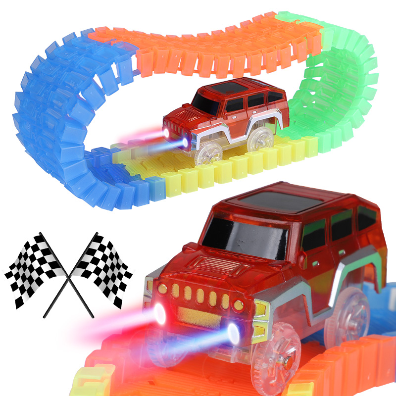 LED Light Glow Racing Track Set 56/165/220 PCS Luminous Track with Car Assembly Flashing Vehicle Toys Children glow race track bend flex glow in the dark assembly toy 112 160 256 300pcs slot race track 1pc led car puzzle educational toys