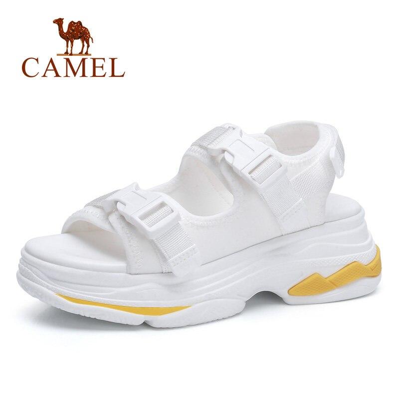 CAMEL/повседневные сандалии с высокой посадкой, с пряжкой, на плоской подошве, дышащая женская обувь, коллекция 2018 года, летние новые сандалии ...