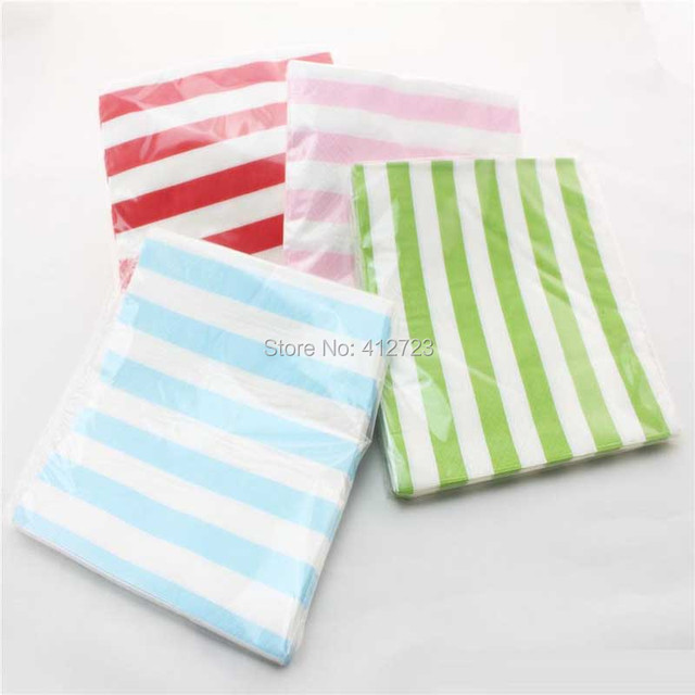 Vintage Dinner Party Supplies 18 Colors Polka Chevron Striped Paper Napkins Baby Shower Chidren S Day Banquet