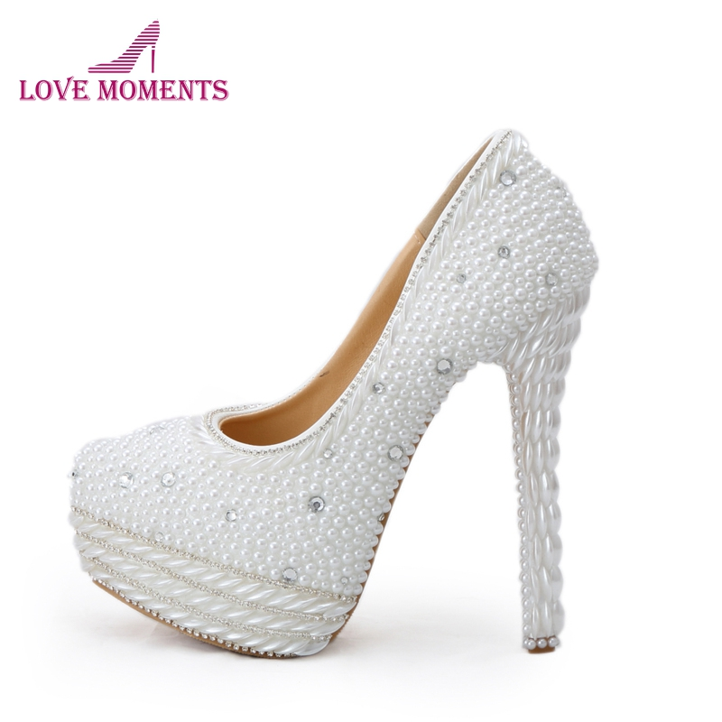 White Pearl High Heels for Wedding Round Toe Handmade Bridal Dress Shoes Women Party Prom Shoes Gorgeous Event Platform Pumps large size 11 gorgeous purple crystal platform heels pumps women wedding party dress shoes 5 inches wedding bouquet prom shoes
