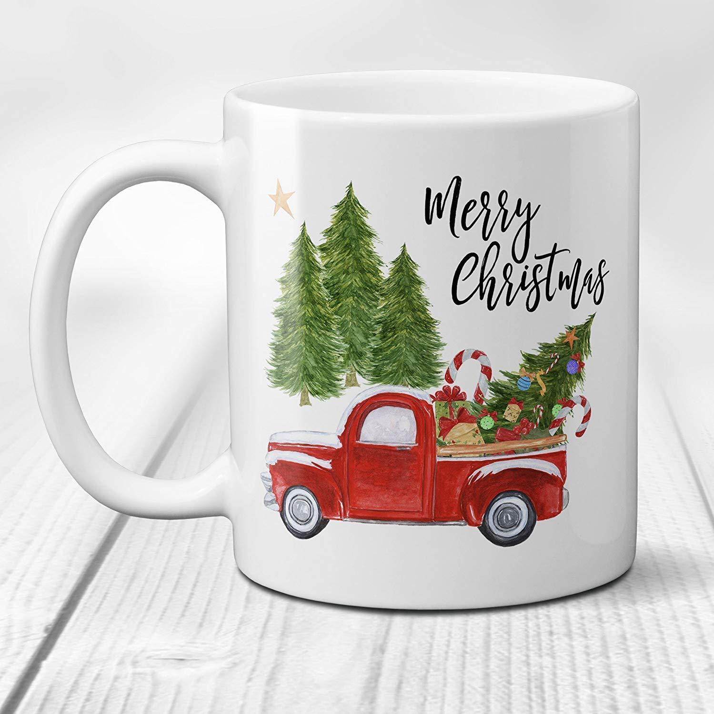 Merry Christmas Coffee Mug with Vintage Red Truck and Christmas Tree ...