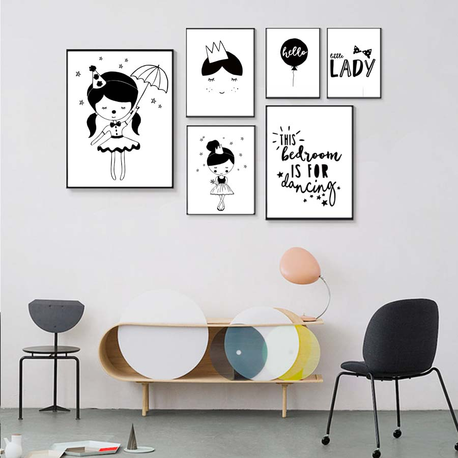 Balloon Fairy Girl Lady Poster Modern Canvas Painting Wall Art Prints Modular Wall Picture For Kids Nursery Bedroom Decoration (2)