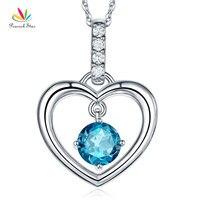 Павлин звезда прекрасно 14 К белого золота London голубой топаз кулон сердце Цепочки и ожерелья 0,04 Ct Diamond