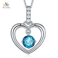 Peacock Star Fine 14K White Gold London Blue Topaz Heart Pendant Necklace 0.04 Ct Diamond