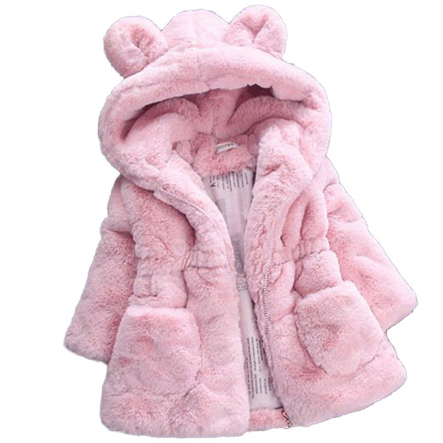 2018 New Winter Baby Girls Clothes Faux Fur Fleece Coat Pageant Warm Jacket Snowsuit 1-7Y Baby Hooded Jacket Children Outerwear