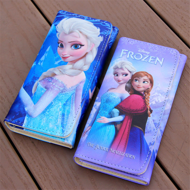 Disney Cartoon Coin Purse  Princess Princess Elsa And Anna Long Women's Wallet Girls Prize Gift Children Christmas Present(China)