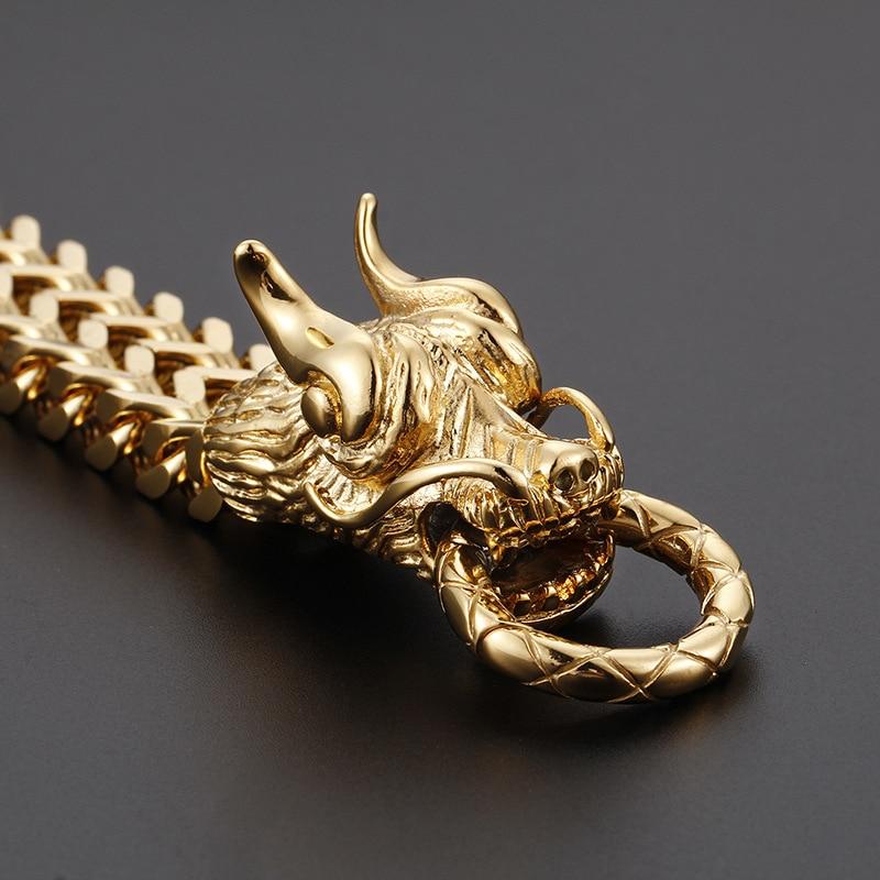 Bracelet de tête de Dragon en or 24 K pour hommes en acier inoxydable Cuba Bracelet de chaîne de main cadeau de bijoux pour hommes
