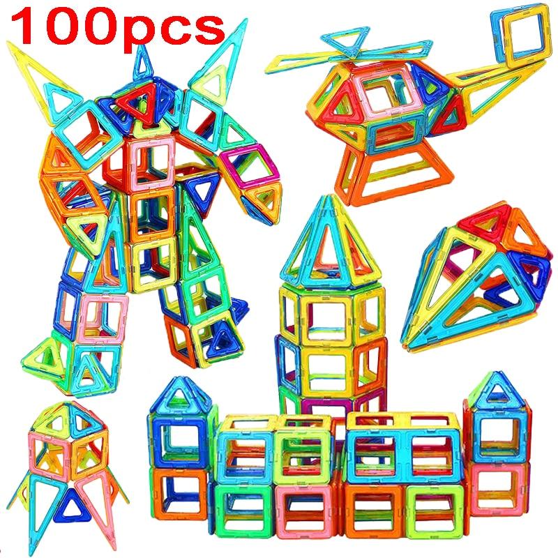 100 sztuk Big Size projektant klocki magnetyczne zabawki DIY magnes conruction plac klocki świąteczny prezent urodzinowy