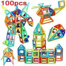 Big Size Designer Magnetic Building Blocks Toys 100 Pcs DIY magnet Constuction Square Building Blocks Christmas Birthday Gift