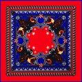 Новая цепь волк глава звезда картины twill шелковый шарф женщина почвы площадь 2017 шаль женская Мода весна-лето шарф обертывания