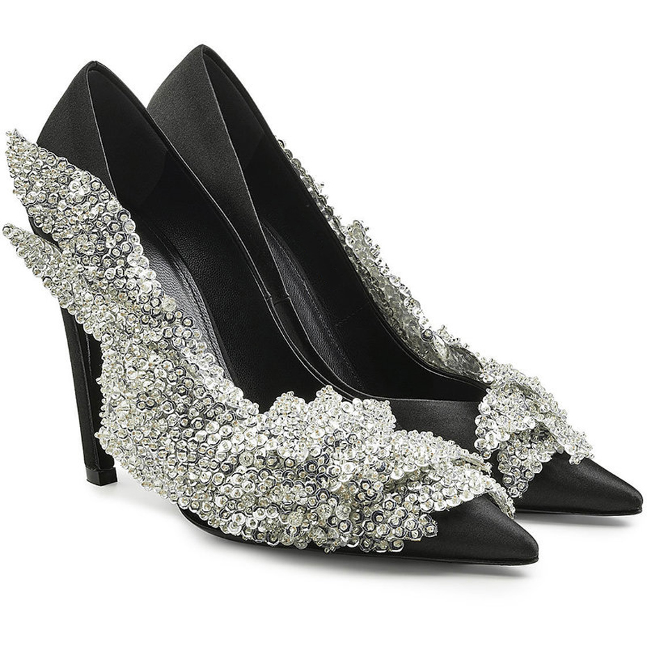 Luchfive Runway Rhinestone Women Party Pumps Silk Pointed Toe Stiletto high  Heels Elegant Lady Crystal flower Wedding Shoes-in Women s Pumps from Shoes  on ... 0eb233f6fe82