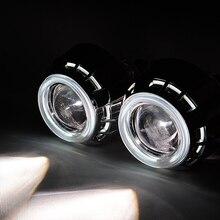 35 Вт 6000 К 3 »дюймовый HID Би ксенон Объектив Проектора Фар Высокого Ближнего света Двойной Angel Eyes H1 H4 H7 6000 К