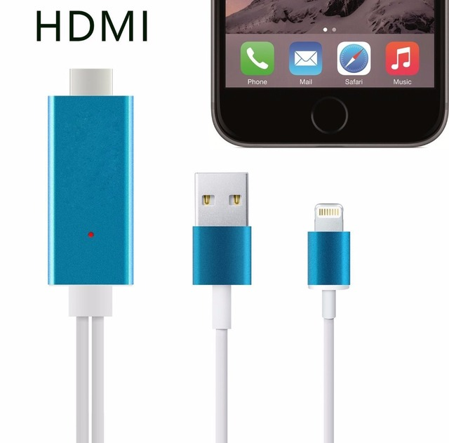 Plug&Play Hdmi Adapter Cable Aluminum 2M 8 Pin to HDMI HDTV AV Cable For iPhone 5/5S/6/6 plus/6S/6S Plus/ipad Support HD 1080P