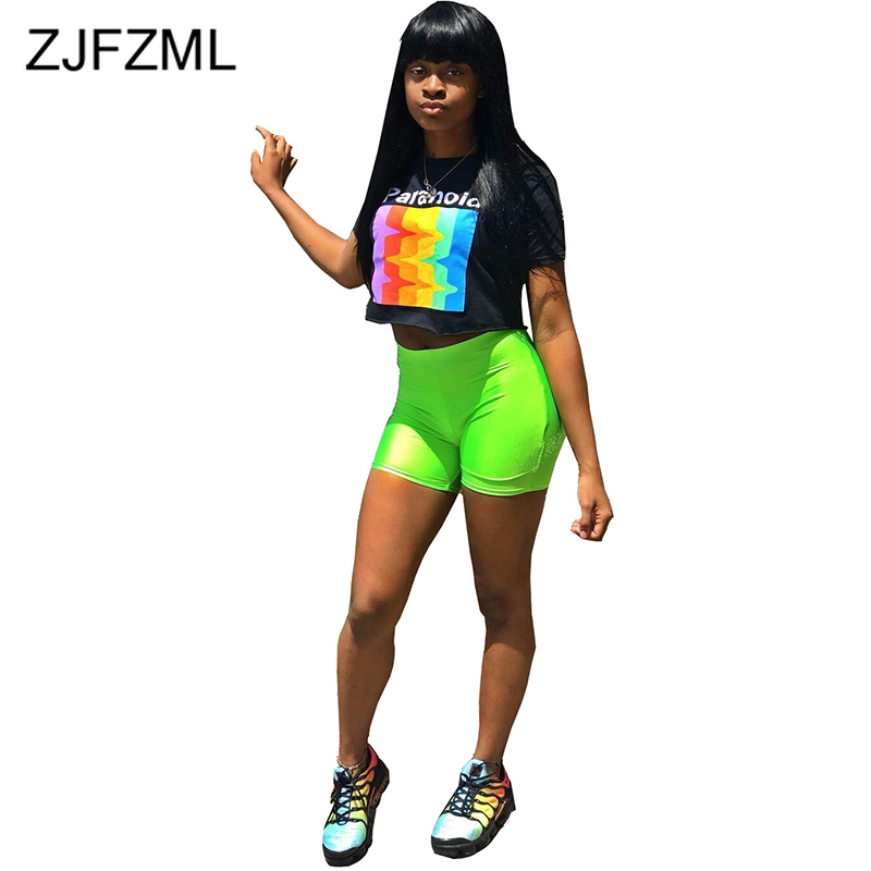 Rainbow Letter Print 2 Piece Tracksuit Summer Clothes For Women O Neck Short Sleeve T-Shirt + Neon Biker Shorts Sexy Club Outfit