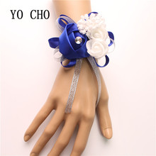 YO CHO High Quality Real Touch Rose Wrist Corsage Bridesmaid Sisters Hand Flowers Artificial Bride Wedding Party Decor