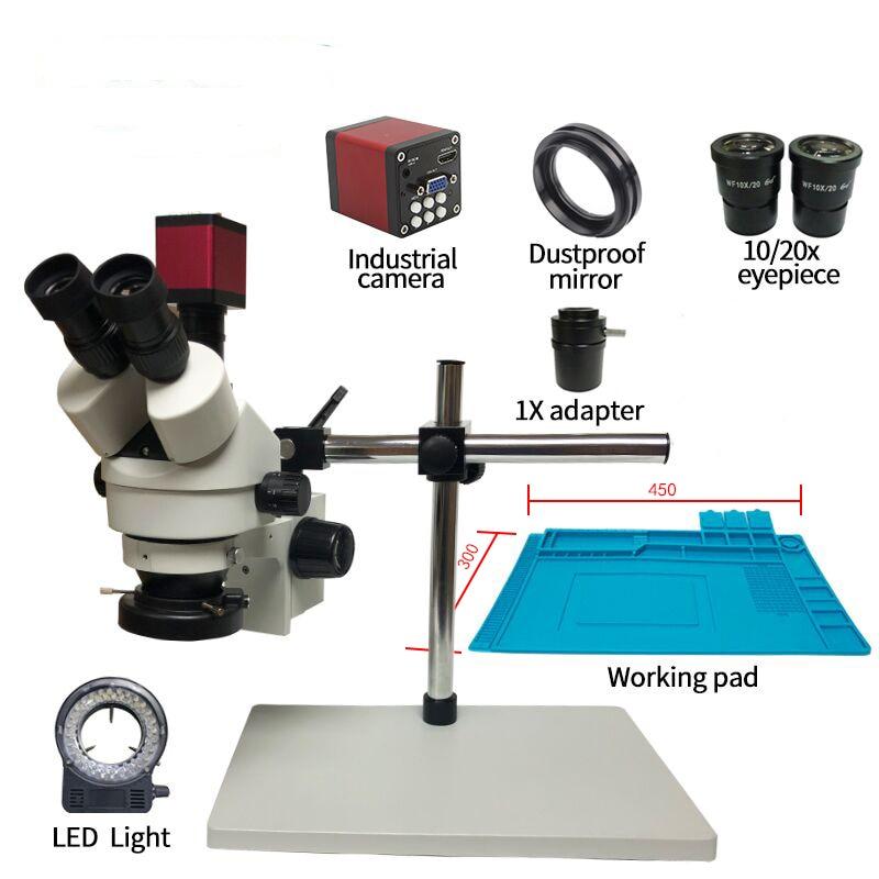 simul-focal HDMI/VGA microscope camera+Continuous Zoom 7~45X Trinocular Stereo Microscope+56 LED Light +Universal bracket +Matsimul-focal HDMI/VGA microscope camera+Continuous Zoom 7~45X Trinocular Stereo Microscope+56 LED Light +Universal bracket +Mat