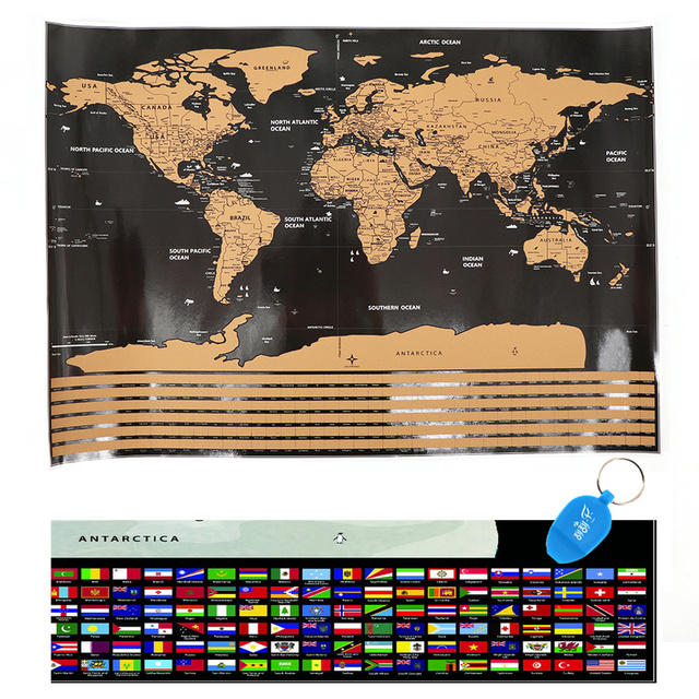 Deluxe Scratch Off World Map Personalized Travel Atlas Poster Novelty Map