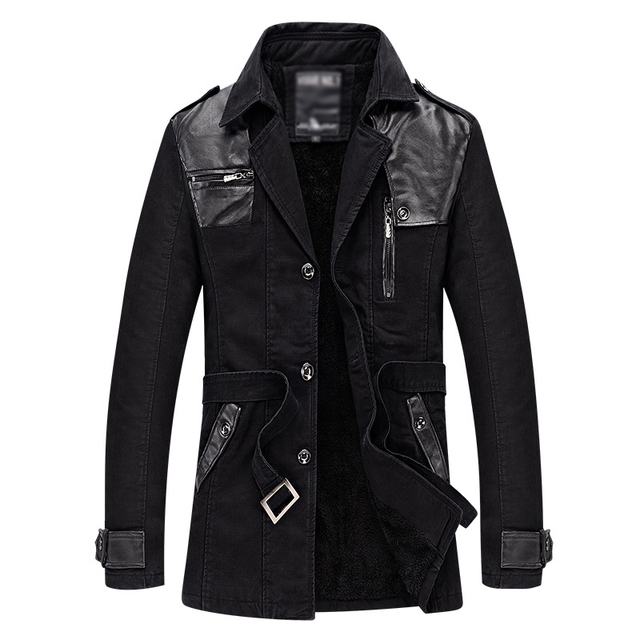 2018 New arrival fashion men trench coat long sleeves turn down collar PU leather patchwork slim warm thick fleece windbreaker