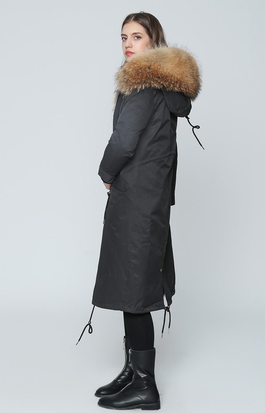 2019 Real Fur Coat Winter Jacket Women Long Parka Waterproof Big Natural Raccoon Fur Collar Hood Thick Warm Real Fox Fur Liner 73