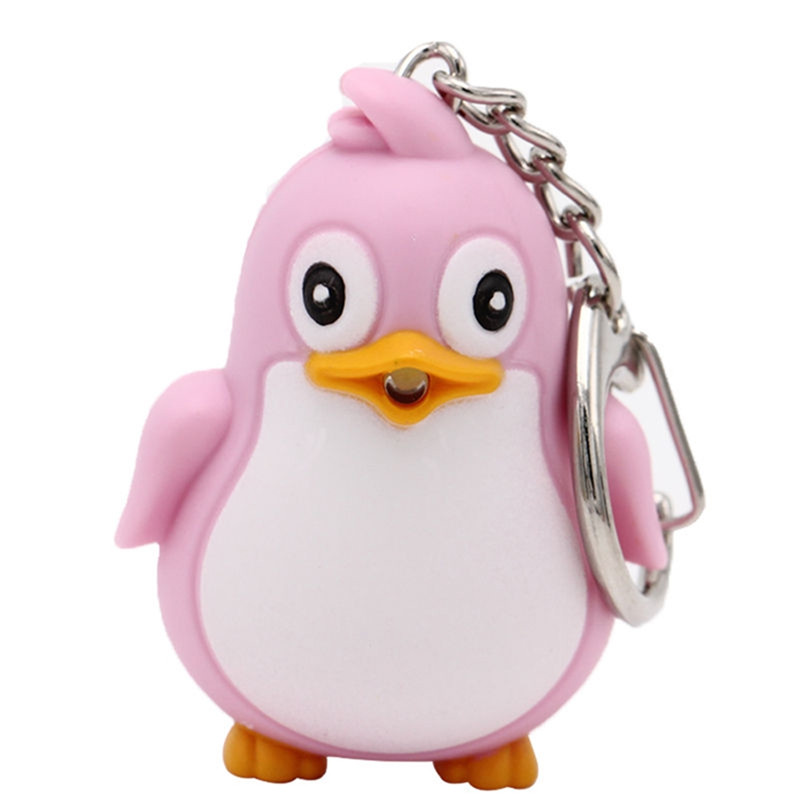 1 PC Lithium Battery Included Lovely Plastic Penguin LED Light Keychain With Sound Bag Car Keyring Holder Key ring