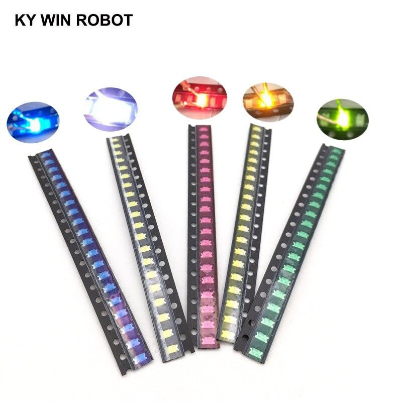 100 шт. = 5 видов цветов X 20 шт. 1206 SMD Светодиодная лампа в упаковке, красный, белый, зеленый, синий, желтый, 1206 светодиодов в комплекте, оранжевый, ...